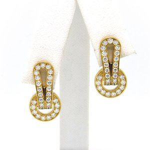 18 Kt Yellow Gold Agrafe Diamond Earrings.